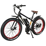 Onway 26' 750W 7 Speed Snow & Beach Fat Tire Electric Bike, All Terrain Using with Pedal Assist and Throttle