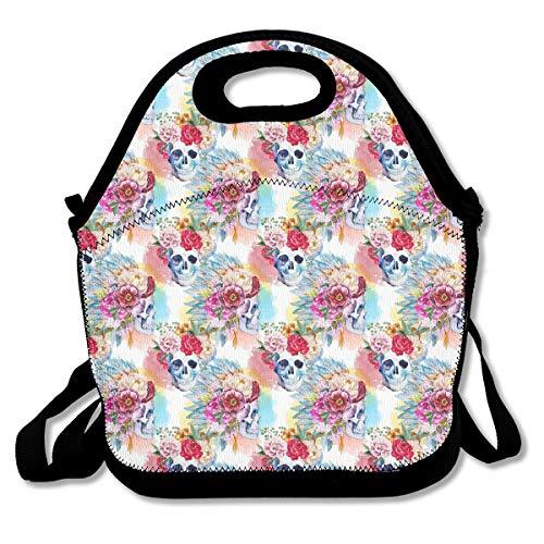 (Sugar Skull Flower Portable Lunch Box Bag Insulated Waterproof School Storage Handbag for Women Adults)