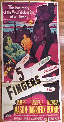 - 5 Fingers (1952) Original U.S. Three Sheet Movie Poster 41x81 Average Used Condition JAMES MASON MICHAEL RENNIE DANIELLE DARRIEUX MICHAEL PATE Film Directed by JOSEPH L. MANKIEWICZ