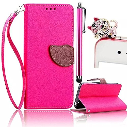 Price comparison product image Galaxy On5 Case,Vandot Leaves Holster Buckle Pattern PU Leather Carrying Protective Case with Stand Credit Card Holder with Lanyard Case for Samsung Galaxy On 5 G550 - Rose