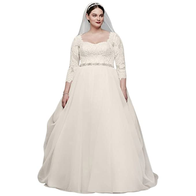 Sample As Is Plus Size 3 4 Lace Sleeved Wedding Dress Style