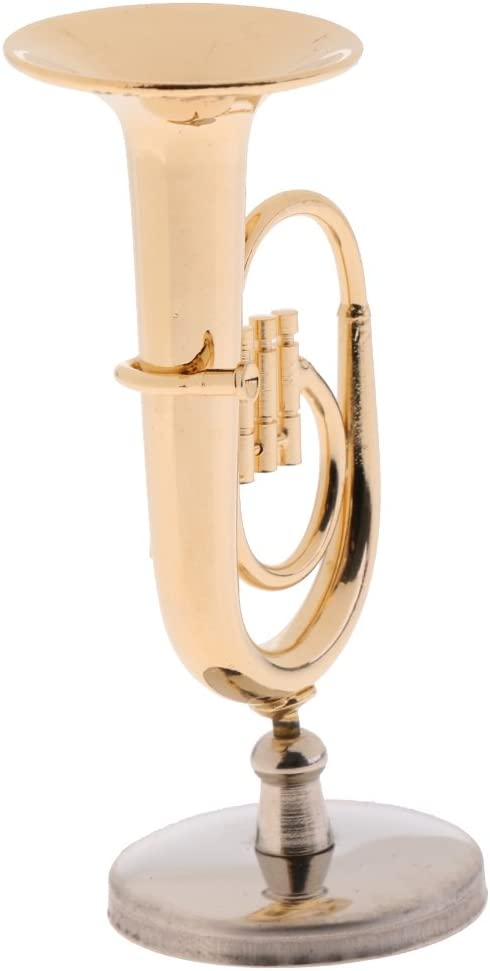 Delicate 1//12 Dollhouse Miniature Copper Tuba Model Musical Instrument Display Decoration Collectibles