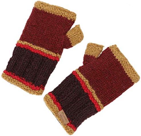 Herren//Damen Handstulpen Alternative Bekleidung Guru-Shop Handstulpen Wollstulpen mit Perlmuster aus Nepal Wolle Grau Size:One Size