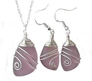 """product image for Handmade in Hawaii, wire wrapped""""October Birthstone Color"""" pink sea glass Necklace+Earrings Set, gift box,sea glass earrings, necklace and earrings set"""
