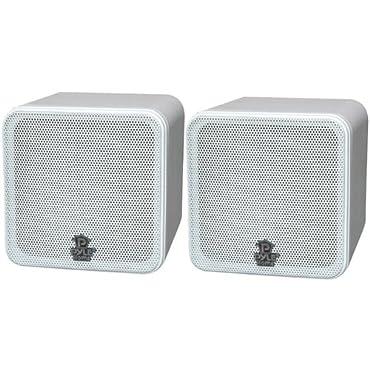 Pyle PCB4WT 4 200-Watt Mini-Cube Bookshelf Speakers (White)