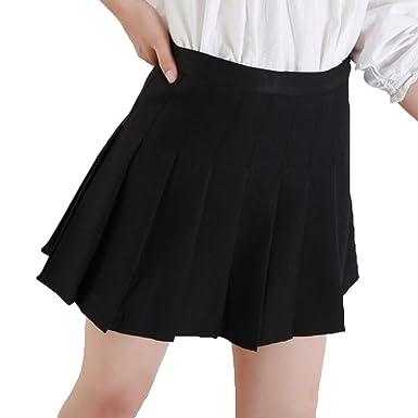 be11d9603bd0b Hibote Sweet Pleated Skirt Women Preppy Style Mini High Waist Skirt Girls  Vintage School Uniforms Skirts  Amazon.co.uk  Clothing