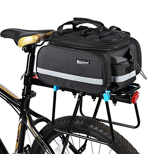 Bicycle Rear Pannier Bag Waterproof, Extendable 10-25L Large Capacity Detachable Bicycle Tail Trunk Bag Handbag Shoulder Strap, Cycling Carrier Rack Storage Pouch with Rainproof Cover 3 Colors