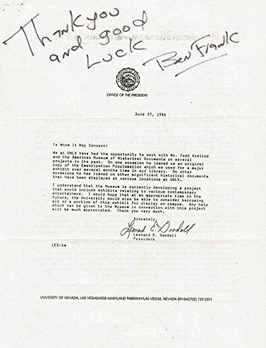 Ben Frank - Autograph Note Signed