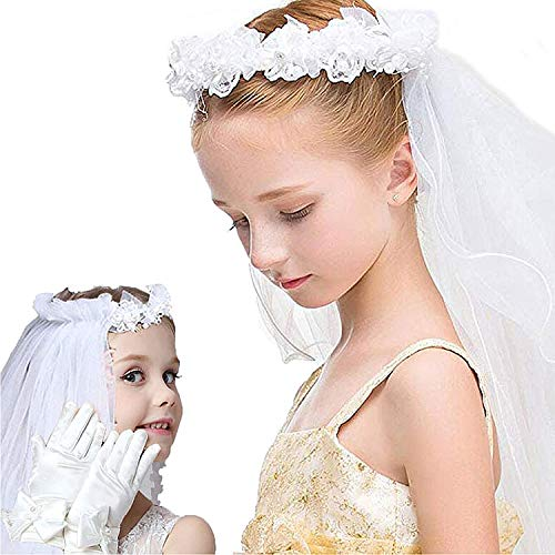 (First Holy Communion Veils for Girls,White Lace flower crown Veil and)