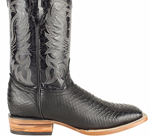 print cowhide genuine western toe Men cowboy leather Black boots square python tRw5xd7
