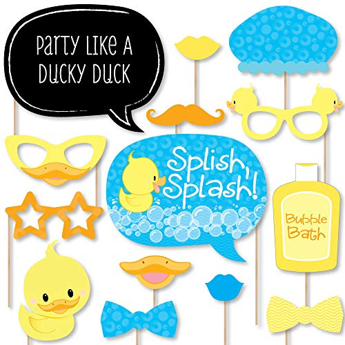 Big Dot of Happiness Ducky Duck - Baby Shower or Birthday Party Photo Booth Props Kit - 20 Count