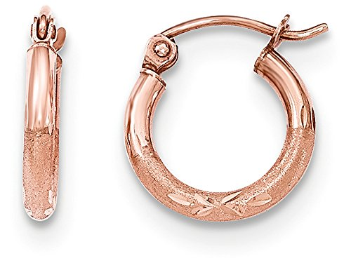 14k Rose Gold Light Weight Satin Bright Cut Hoop Earrings