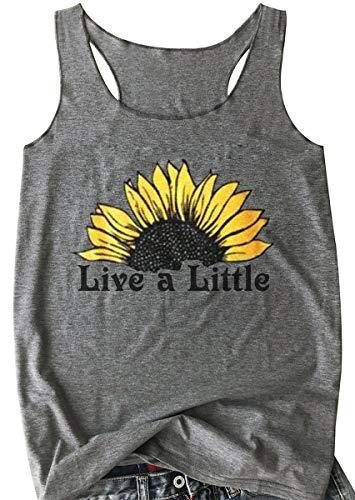 Women Live a Little Letter Print T Shirt Short Sleeve Sunflower Graphic Tee Tops (XL, Grey)