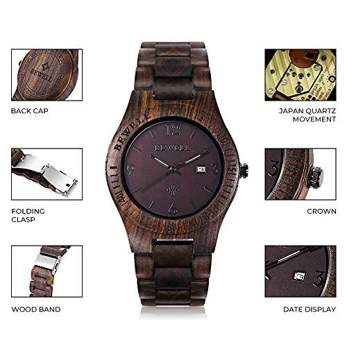 Bewell W086B Mens Wooden Watch Analog Quartz Lightweight Handmade Wood Wrist Watch (Ebony Wood)
