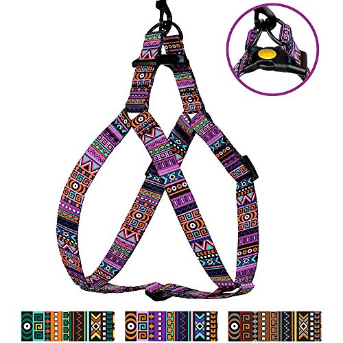 CollarDirect Tribal Dog Harness Adjustable Nylon Step in Aztec Print Pet Harnesses for Small Medium Large Puppy Vest Outdoor Walking (Pattern 2, Large) ()