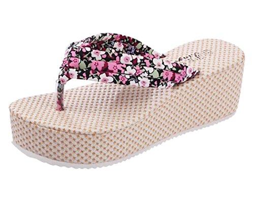 Minetom Mujer Verano Dulce Bohemia Floral Cuña Chancletas Plataforma Forrados Muffin Clip Dedo Del Pie Zapatillas Sandalias Rosa