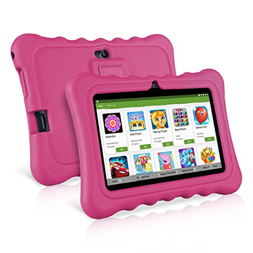 7 Kids Tablets, Android 7.1 RK3126C Quad Core, Ainol Q88 Kids Education Tablet with 1GB ROM+8GB RAM, Dual 0.3MP Cam,Portable Kid-Proof Shock-Proof Silicone Case for Kid Tablet PC(Pink)