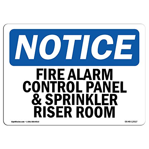 OSHA Notice Sign - Fire Alarm Control Panel and Sprinkler Riser Room | Rigid Plastic Sign | Protect Your Business, Work Site, Warehouse |  Made in The USA