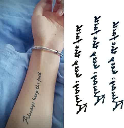 b3528b6af Oottati Small Cute Temporary Tattoo English Word Quote Always Keep The  Faith (2 Sheets)