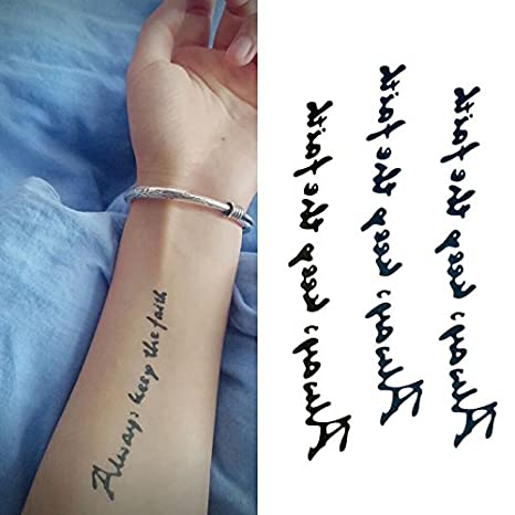 Oottati Pequeño Lindo Tatuaje Temporal Palabra Inglesa Always Keep ...