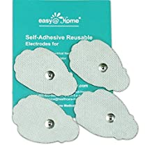 "Easy@home 16 2""x3"" Re-useable Adhesive Electrode TENS Pads for TENS electronic pulse massager in Hand Shape, FDA Approved for Over The Counter (OTC) Use"