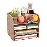 Desktop Wooden File Folder 4-Tray Desk Organizer Basket, DIY Portable Stackable Multiple Shelves 11 Compartment Storage Bins Crate Folder Holder for Home Office Supplies