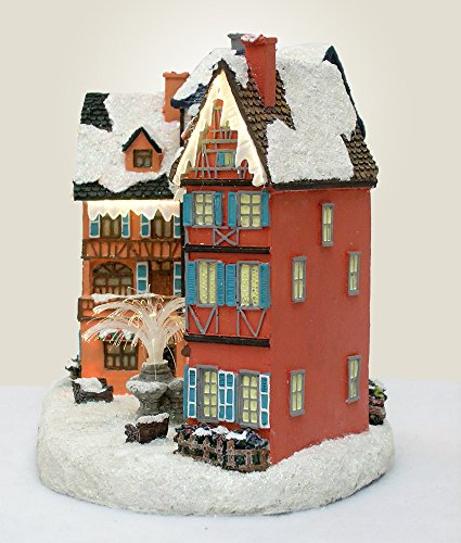 BANBERRY DESIGNS Christmas Village House with Water Fountain LED Fiber Optic - Polystone - 12x9x7 Inch