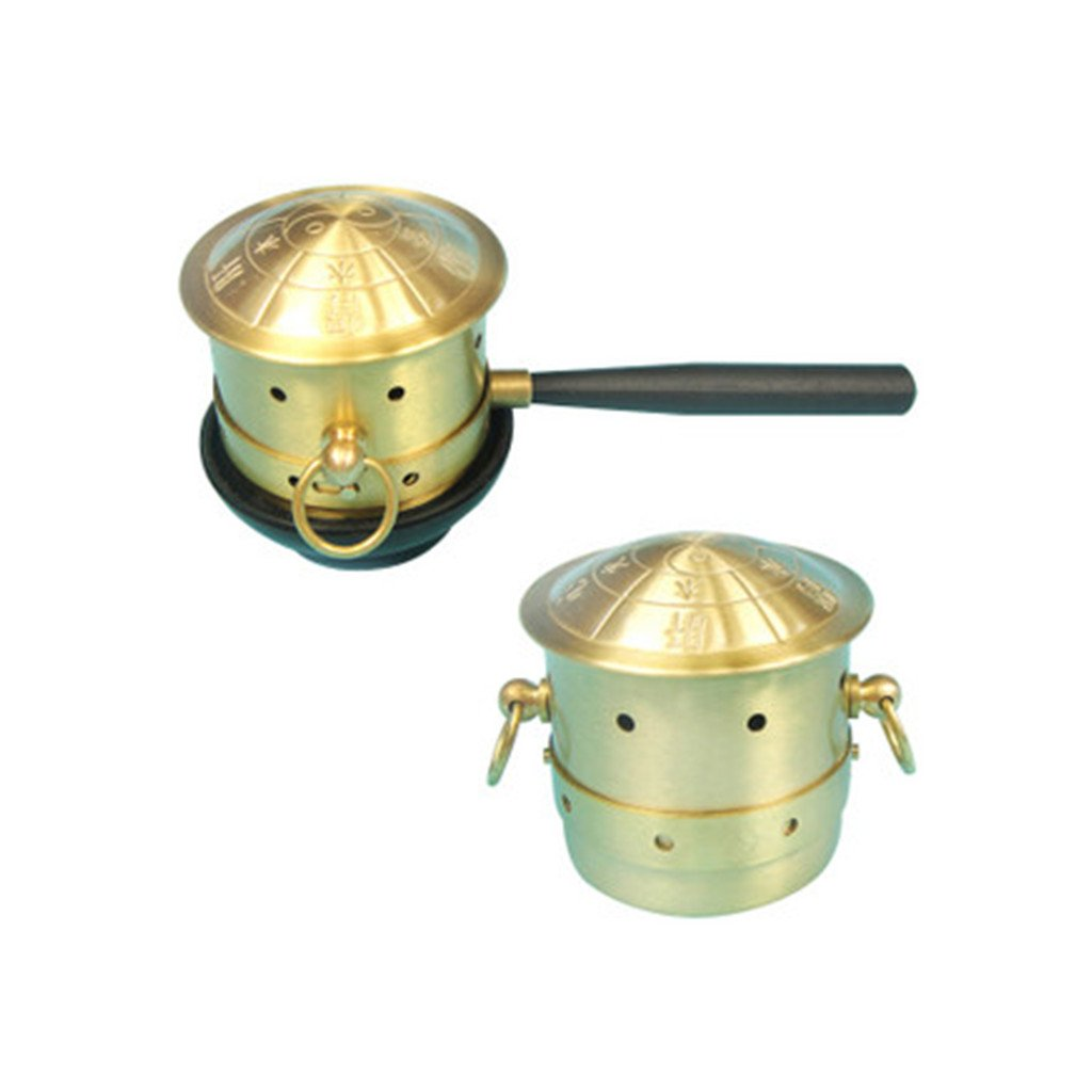 Portable Exquisite Copper Acupuncture Moxa Box Moxibustion Therapy Moxa Stick Burner Box Smokeless Mugwort Round Shape Burner Set Healthcare