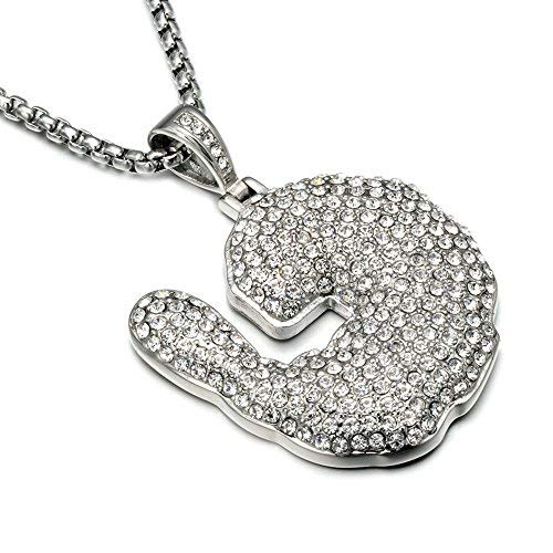 Jewelrysays Hip Hop Jewelry Crystal Shrimp Pendant Stainless Steel Bling Creative Necklace (Silver)