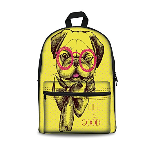 Design the fashion fo Kids Back to School Backpack, Canvas Book Bag,Pug,An Intellectual Dog with Glasses and a Wink Life is Good Inscribed on the Background,Yellow Pink. -