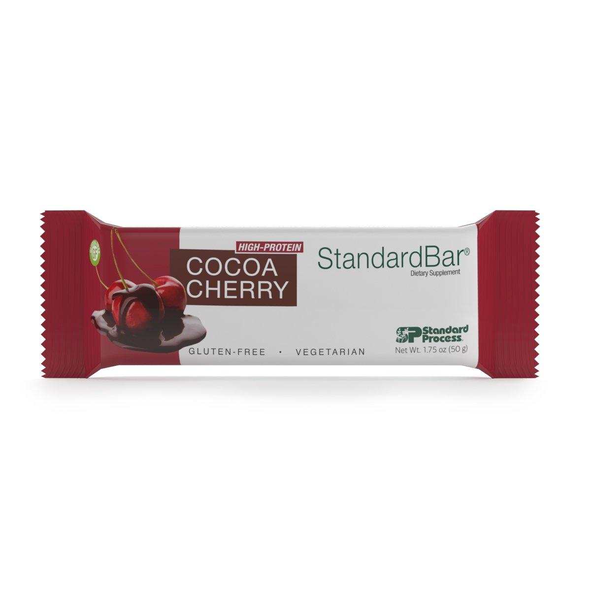 Standard Process - Cocoa Cherry StandardBar - High-Protein Supplement, 15 g Protein, Calcium, Dietary Fiber, Gluten Free and Vegetarian - 18 Bars (1.75 oz. Each)
