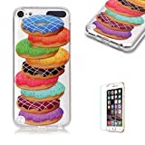 For iTouch 5/6 Case [with Free Screen Protector],Funyye Soft TPU Gel Case Cute Simple [Colorful Painting Pattern] Ultra Slim Flexible Protective Skin Back Cover for iTouch 5/6 - Donut