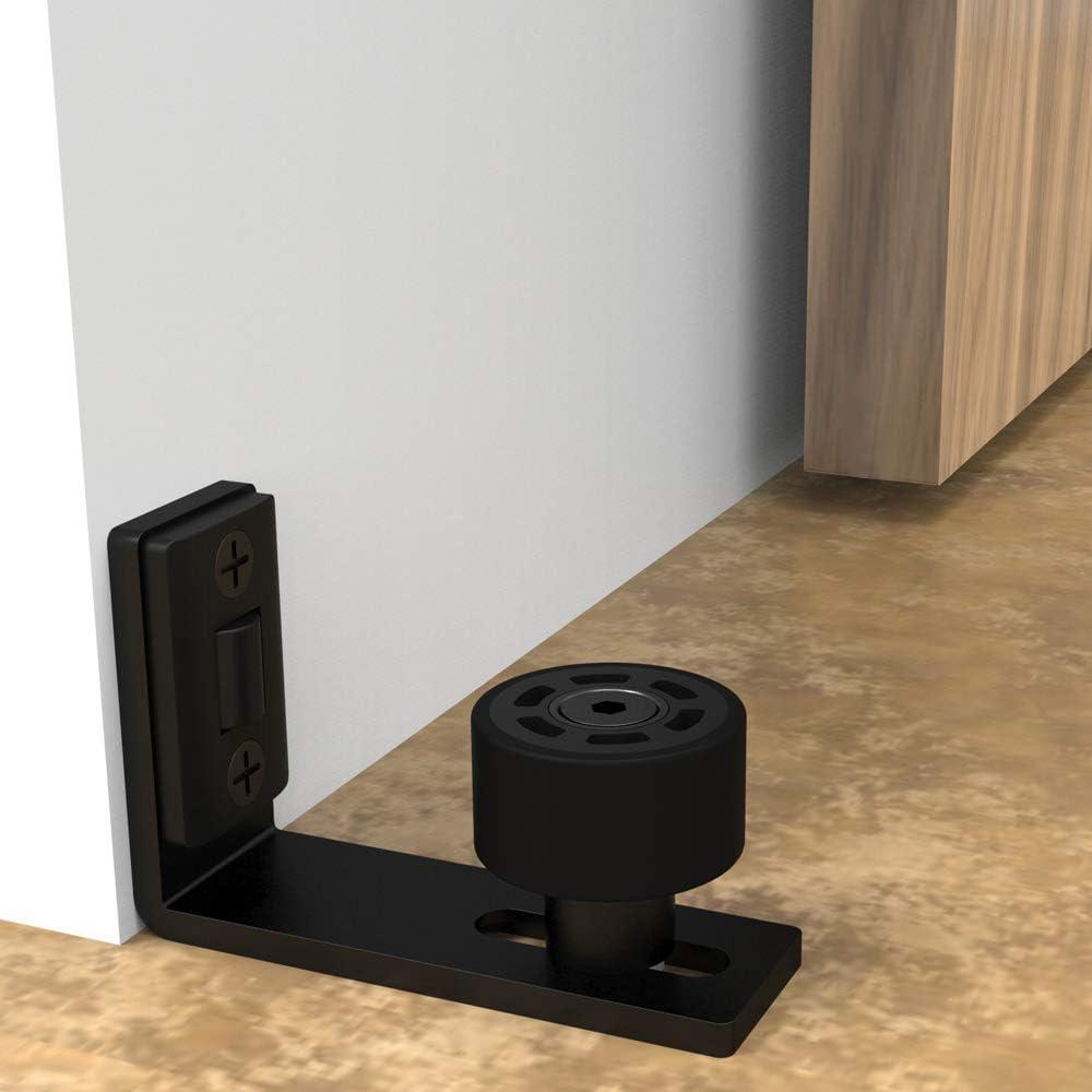 CCJH - Puerta de granja corredera ajustable, guía de suelo para pared o bajo de puerta, negro: Amazon.es: Bricolaje y herramientas