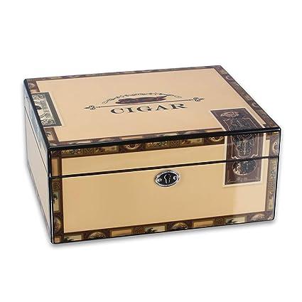Caja de cigarros, madera de cedro forrada, pintura de piano ...