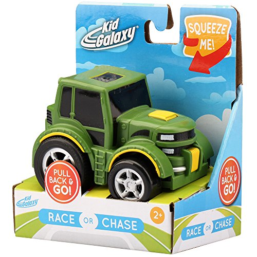 """Kid Galaxy Pull Back 'n Roll Farm Tractor. Wind Up Toy Vehicle for Kids & Toddlers Age 2 & Up Vehicle, Green, 4"""" x 3"""" x 3"""""""