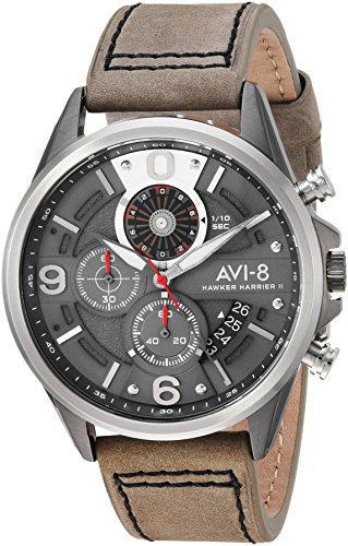 AVI-8 Men's 'Hawker Harrier II' Quartz Stainless Steel and Leather Aviator Watch, Color:Grey (Model: (Stainless Steel 2 Register Chronograph)