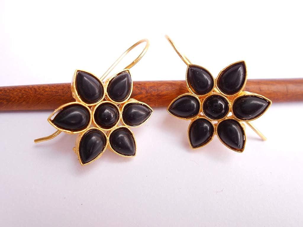 Handmade Black Onyx Golden Plated Brass Earring 0609/_07