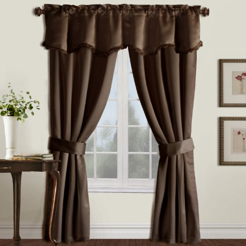 United Curtain Burlington Blackout Window Curtain Five Piece Panel Set, 52 by 84-Inch, Chocolate
