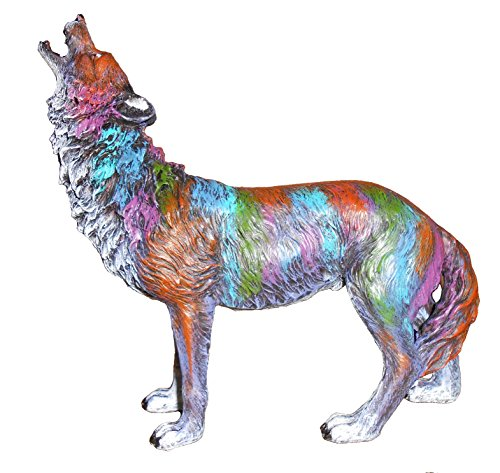 Howling Wolf Statue - Wolf Standing Howling Sculpture w/ Multicolor Highlights 8