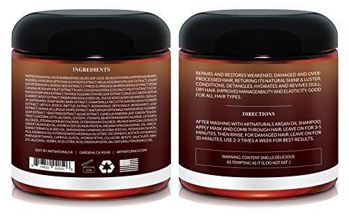 ArtNaturals Argan Oil Hair Mask - (8 Oz/226g) - Deep Conditioner - 100% Organic Jojoba Oil, Aloe Vera & Keratin - Repair Dry, Damaged Or Color Treated Hair After Shampoo - Sulfate Free by ArtNaturals