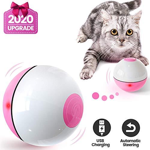Iokheira Katzenball mit LED-Licht, Elektrisch Zwei-Farben Katzenspielzeug Ball interaktives Spielzeug für Katzen, selbstdrehender 360-Grad-Ball, wiederaufladbares interaktives USB-Katzenspielzeug