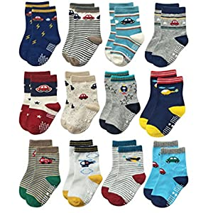 Deluxe Non Skid Anti Slip Slipper Cotton Crew Socks With Grips For Baby Toddlers Kids Boys
