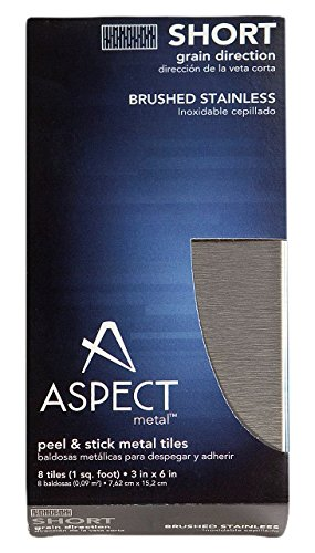Aspect Peel and Stick Backsplash 3in x 6in Brushed Stainless Short Grain Metal Tile for Kitchen and Bathrooms (8-pack) ACP - HI A53-50