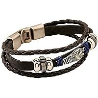 EAGLE Wing Vintage Genuine Leather 3 Strand Unisex Bracelet 8.2