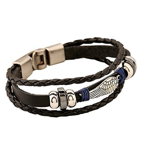 EAGLE Wing Vintage Genuine Leather 3 Strand Unisex Bracelet 8.2 Alloy Clasp Hematite Stunning Wristband Fashion Cuff for Men Women, Stylish 3-Tier Co…