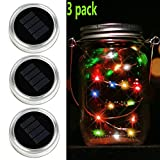 Waterproof Mason Jar Lights,10 LED Solar Warm White Fairy String Lights Lids Insert for Garden Deck Patio Party Wedding Christmas Decorative Lighting Fit for standard Mouth Jars (3 PACK Colorful)