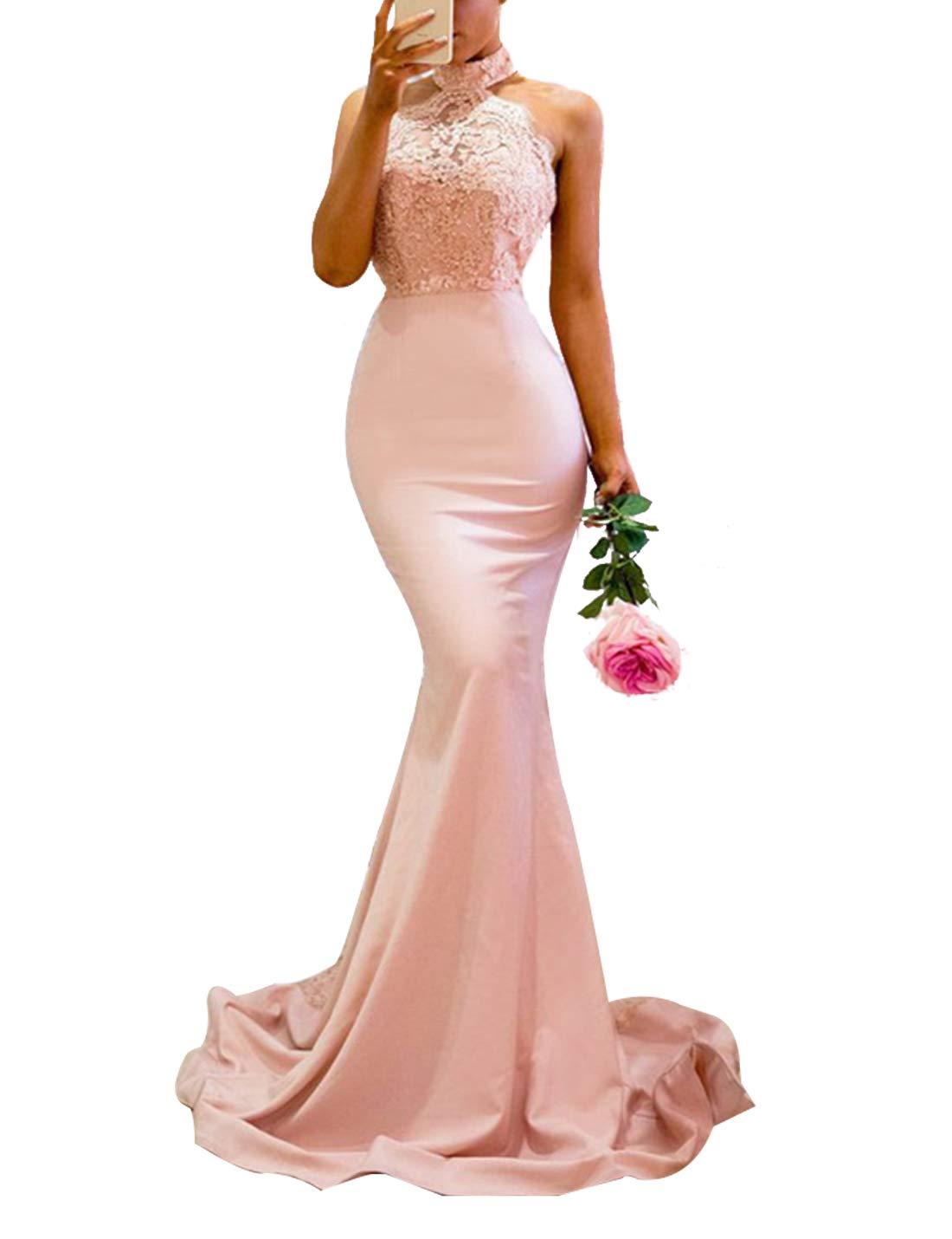 M_Eshop Women's Sheath Sexy Vintage Floral Lace Backless Mermaid Bridal Wedding Maxi Formal Long Dress (Pink 04, M) by M_Eshop