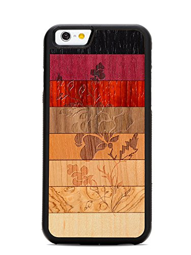iPhone 6 / 6s Emily Jane Flower Fade Wood Traveler Case by Carved, Unique Real Wooden Phone Cover (Rubber Bumper, Fits Apple iPhone 6 / 6s)