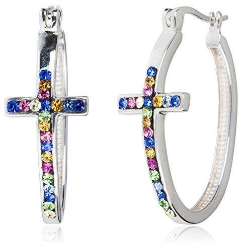 - Carly Creations Fine Silver Plate Crystal Cross Hoop Earring - Multi