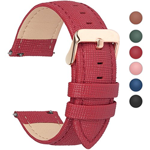 Fullmosa 6 Colors for Quick Release Leather Watch Band, Cross Genuine Leather Replacement Watch Strap with Stainless Metal Clasp 18mm Red